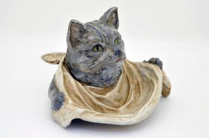 Encrier en bronze polychrome en forme de tête de chat gourmand