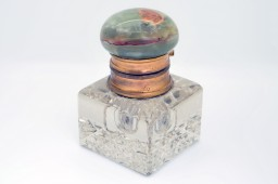 French inkwell crystal and green onyx 1880