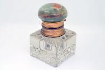 Encrier français en cristal et onyx vert 1880