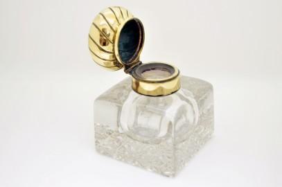 Crystal inkwell - cabochon ormolu, bronze cap