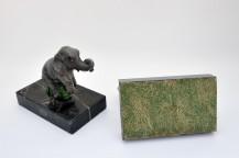 Serre-livres - éléphanteaux sur socle en marbre noir de Markina