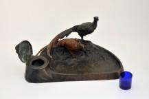 Encriers en bronze - couple de faisans