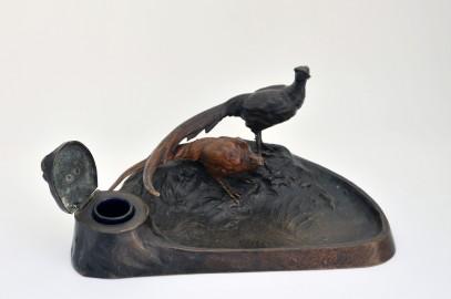 Encriers en bronze patiné XIXe avec couple de faisans