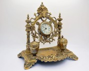 Inkwell and original French bronze clock nineteenth