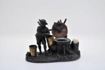 Encrier français en bronze patine XIXe