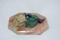 Encrier en bronze polychrome style naturaliste