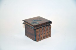 Wooden travel inkwell - row of books late nineteenth