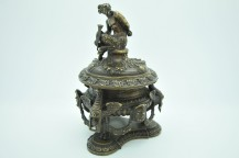 Bronze inkwell shaped wildlife musician devil