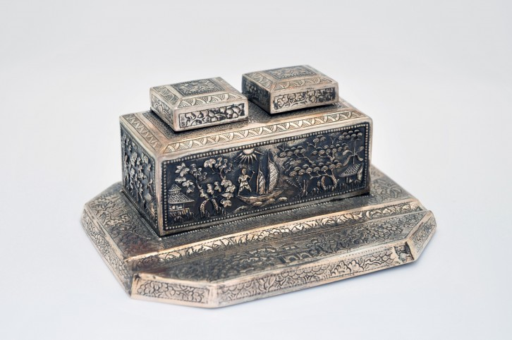 In Sterling Silver Inkwell Made In Indochina late XIXe