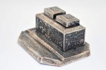 Encrier En Argent Massif Fabriqué En Indochine fin XIXe