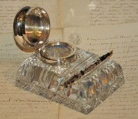 Encrier en cristal et argent massif des années 1920