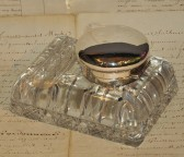 Inkwell crystal and silver 1920