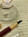 Coffret neuf PASHA CARTIER plume et encrier en cristal