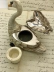 Encrier Cygne en bronze de Vienne polychrome