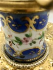 rare encrier a pompe XIXe nacre et porcelaine de Sèvress