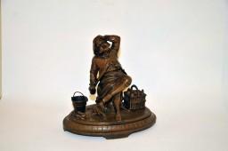 Encrier en bronze illustrant l'épicurien XIXe