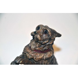 Polychrome bronze inkwell shaped trained dog