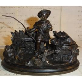 Encrier en bronze avec enfant pêcheur